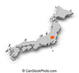 Map - Japan, Tochigi - 3D-Illustration