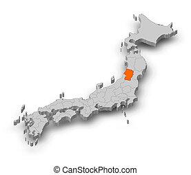 Map - Japan, Yamagata - 3D-Illustration