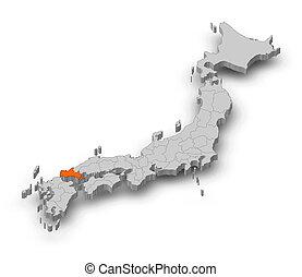 Map - Japan, Yamaguchi - 3D-Illustration