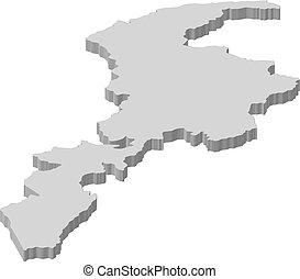 Map - Khyber Pakhtunkhwa (Pakistan) - 3D-Illustration