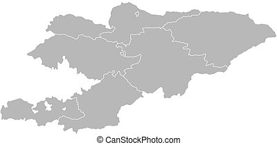 Grey kyrgyzstan map. Map of administrative divisions of kyrgyzstan.