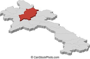 Map - Laos, Luang Prabang - 3D-Illustration - Map of Laos as...