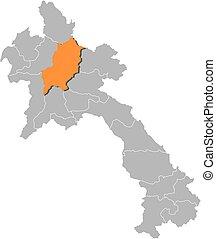 Map - Laos, Luang Prabang - Map of Laos with the provinces,...