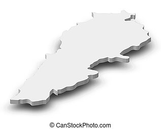 Map of Lebanon as a gray piece with shadow.