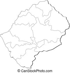 Map - Lesotho - Map of Lesotho, contous as a black line.