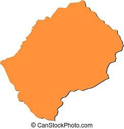 Map - Lesotho - Map of Lesotho, filled in orange.