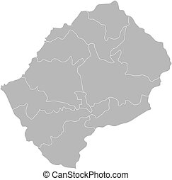 Map - Lesotho - Map of Lesotho with the provinces.
