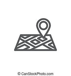 Map line icon on white background