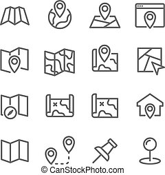 Map Line Icon Set. Contains such Icons as Destination, Location, Pin and more. Expanded Stroke