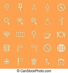 Map line icons on orange background