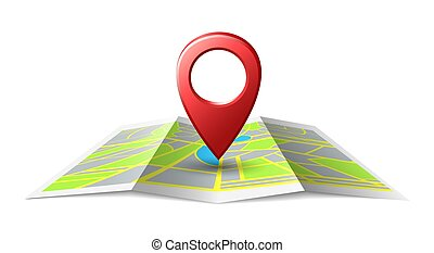 Map localization place pin. Location illustration icon with 3d maps sticker, tourism direction pointer or road travel directions sign
