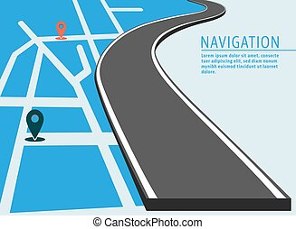 Map location banner. Navigation with pin pointer cover...
