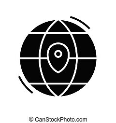 Map location black icon, concept illustration, vector flat symbol, glyph sign.