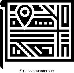 map location glyph icon vector illustration