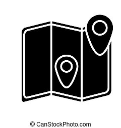 map location icon, vector illustration, black sign on isolated background