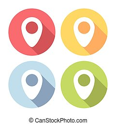 Map Location Marker Pin Flat Icons Set