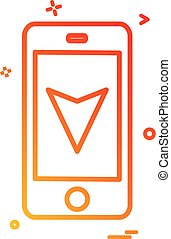 map location mobile navigation icon vector design