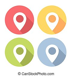 Map Location Navigation Marker Flat Icons Set