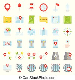 Map, location, pin and navigation vector flat design icon