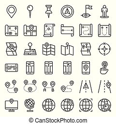 Map, location, pin and navigation vector outline icon