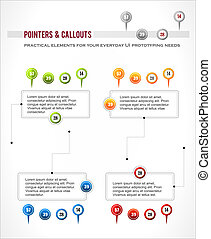 Interface elements set, map location pointer pin, infographics diagram callout