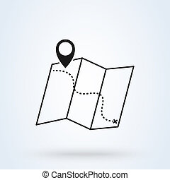 map location, Simple vector modern icon design illustration.