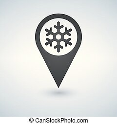 Map location with snowflake on white background. Vector illustration.