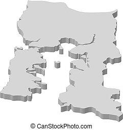 Map - Los Lagos (Chile) - 3D-Illustration