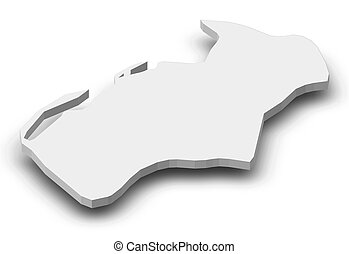 Map of Luanda, a province of Angola, as a gray piece with shadow.