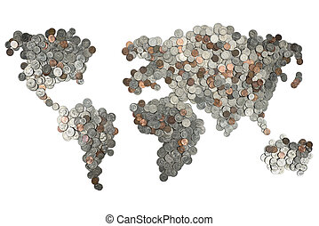 Map made of coins isolated on white