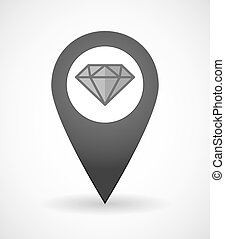 Map mark icon with a diamond