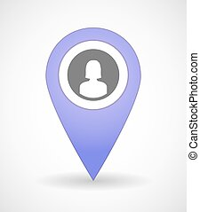 Map mark icon with a female avatar