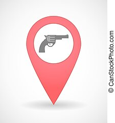 Map mark icon with a gun