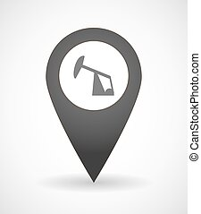 Illustration of a map mark icon with a horsehead pump