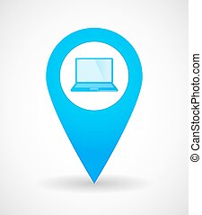 Map mark icon with a laptop