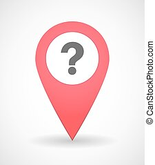 Map mark icon with a question sign