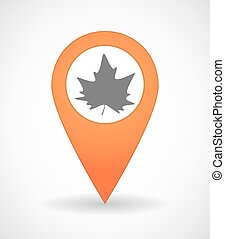 Map mark icon with an autumn leaf tree