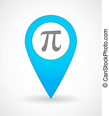 Map mark icon with the number pi symbol