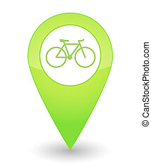 Map mark with a bicycle icon