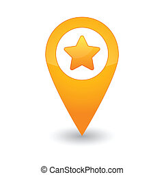 Map mark with a star - Illustration of an isolated map...