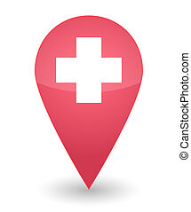 Map mark with the swiss flag