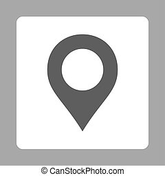 Map Marker icon from Primitive Buttons Over Color Set. This rounded square flat button is drawn with dark gray and white colors on a silver background.