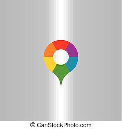 map marker letter o colorful logo icon vector