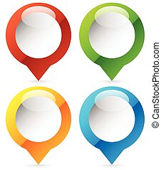 Map marker, map pin icon in 4 colors