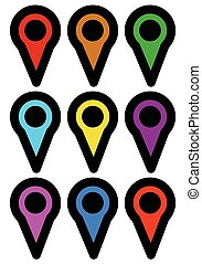 map marker, map pin icons in more color