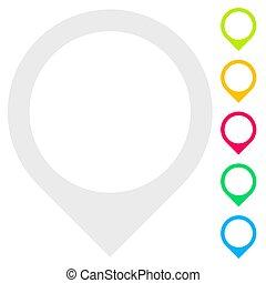 Map marker, map pin, location icon, symbol