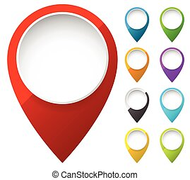 Map marker, map pin shapes, elements in 6 color. Location,...