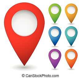 Map marker, map pin vector. Map markers with circles with...