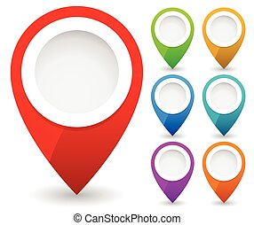 Map marker, map pin vector. Map markers with circles with blank space. 7 colors. Vector graphics.