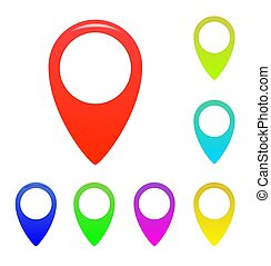 Map marker, map pin vector. Map markers with circles with blank space.